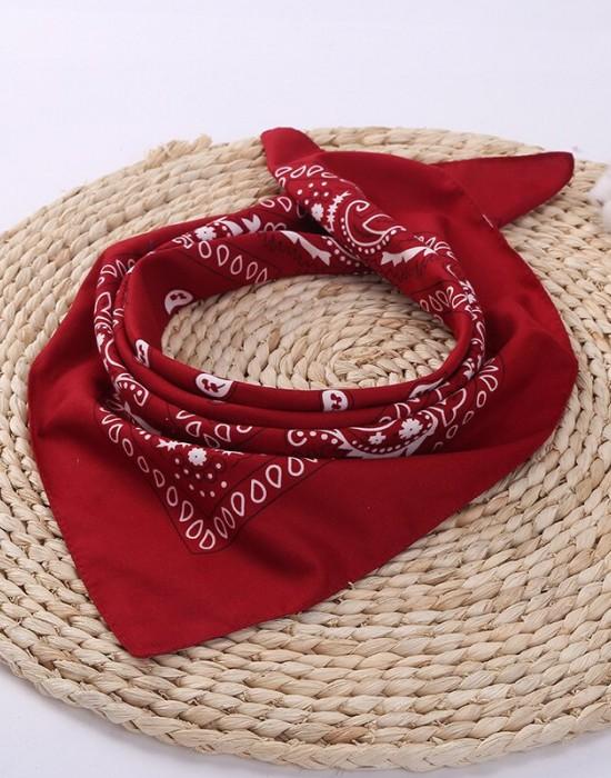 Бандана кърпа за глава Bandana в тъмночервен цвят, Бандани кърпи - Bandana.bg