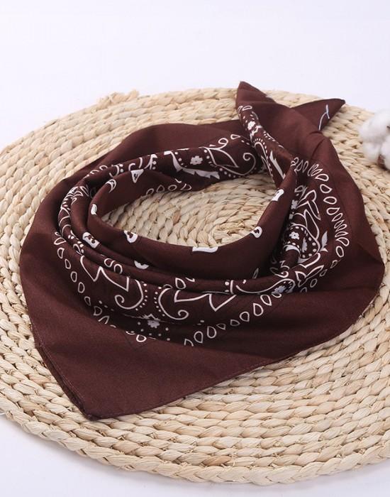 Бандана кърпа за глава Bandana в кафяв цвят, Бандани кърпи - Bandana.bg