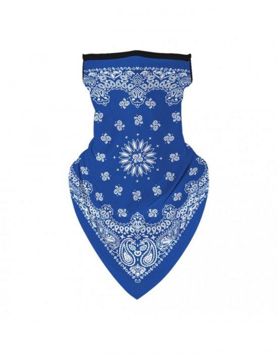 Бандана маска с уши в синьо Band Flowers, Бандани маски с уши - Bandana.bg