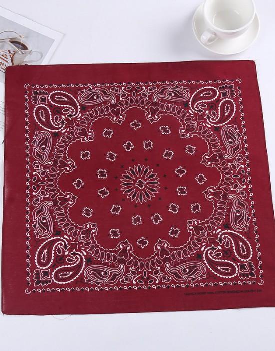 Бандана кърпа за глава New Bandana в тъмночервен цвят, Бандани кърпи - Bandana.bg