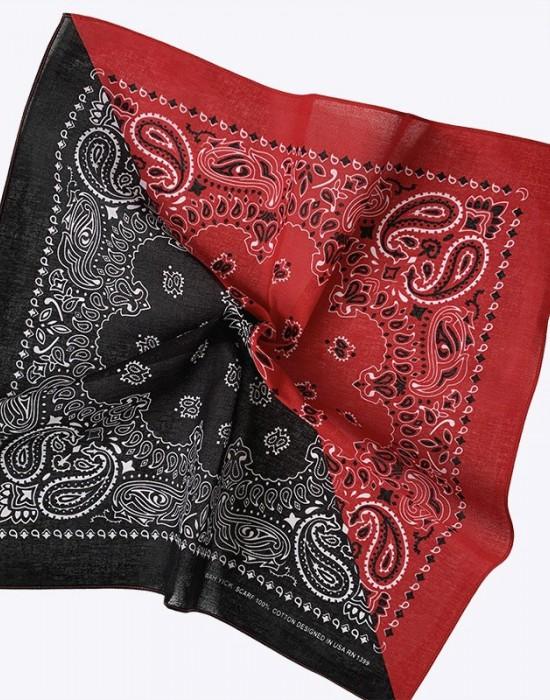 Кърпа за глава бандана Bandana в два цвята - черно-червена, Бандани кърпи - Bandana.bg