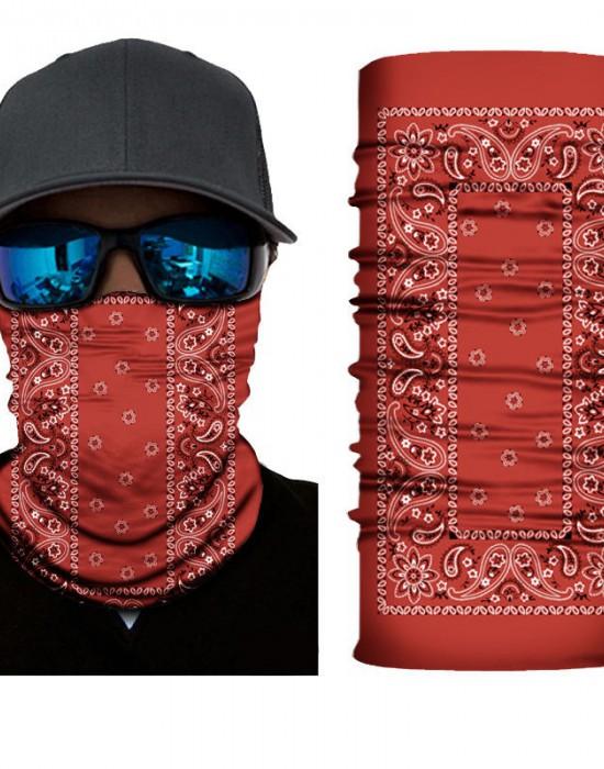Мултифункционален шал бандана за глава в червен цвят, Бандани шал - Bandana.bg
