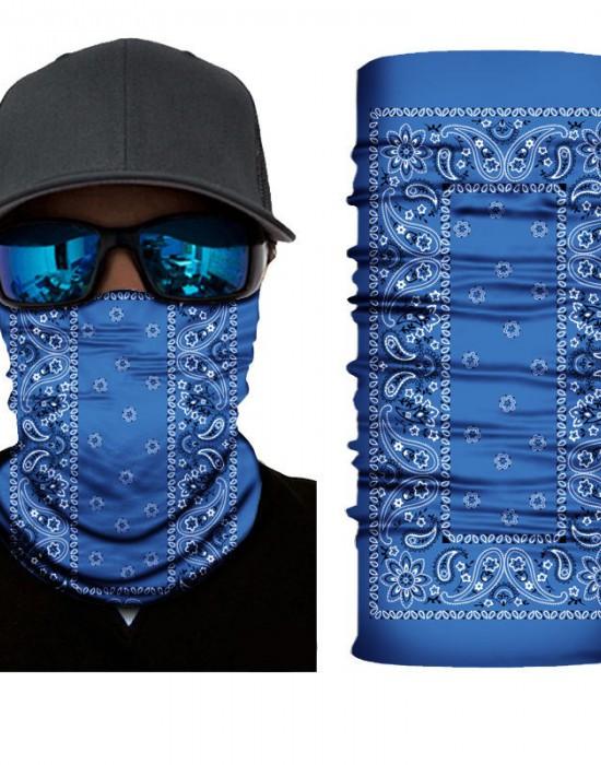 Мултифункционален шал бандана за глава в син цвят, Бандани шал - Bandana.bg