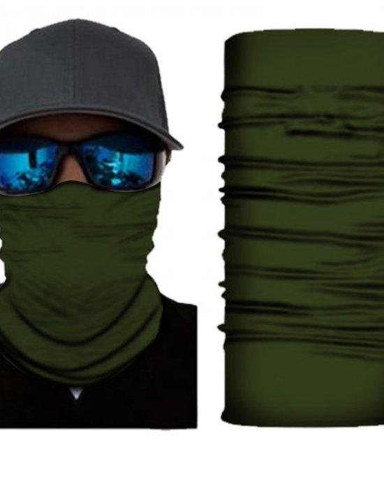 Мултифункционален шал бандана за глава в изчистен тъмнозелен цвят, Бандани шал - Bandana.bg