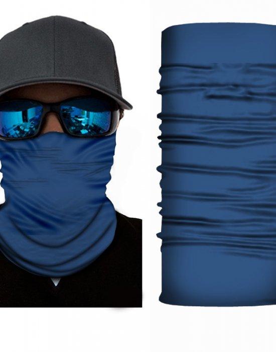 Мултифункционален шал бандана за глава в изчистен син цвят, Бандани шал - Bandana.bg