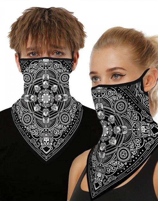 Бандана маска с уши в черно с интересен дизайн, Бандани маски с уши - Bandana.bg