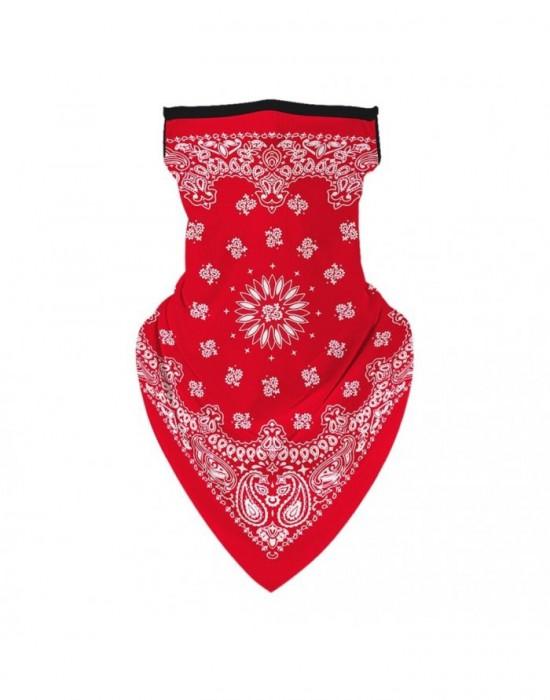 Бандана маска с уши в червено Flowers, Бандани маски с уши - Bandana.bg