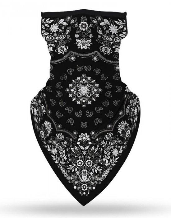 Бандана маска с уши в черно Flowers, Бандани маски с уши - Bandana.bg