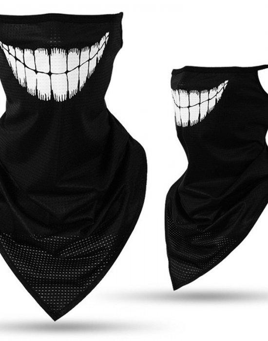 Бандана маска с уши и зъби в черно Teeth, Бандани маски с уши - Bandana.bg