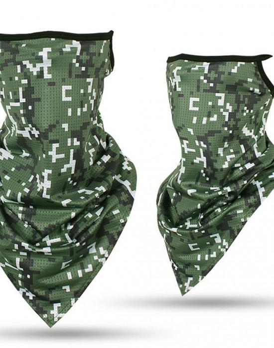 Бандана с уши в зелен камуфлаж New Camo Green, Бандани маски с уши - Bandana.bg
