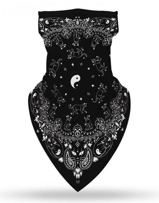 Бандана маска с уши в черно в интересен дизайн, Бандани маски с уши - Bandana.bg