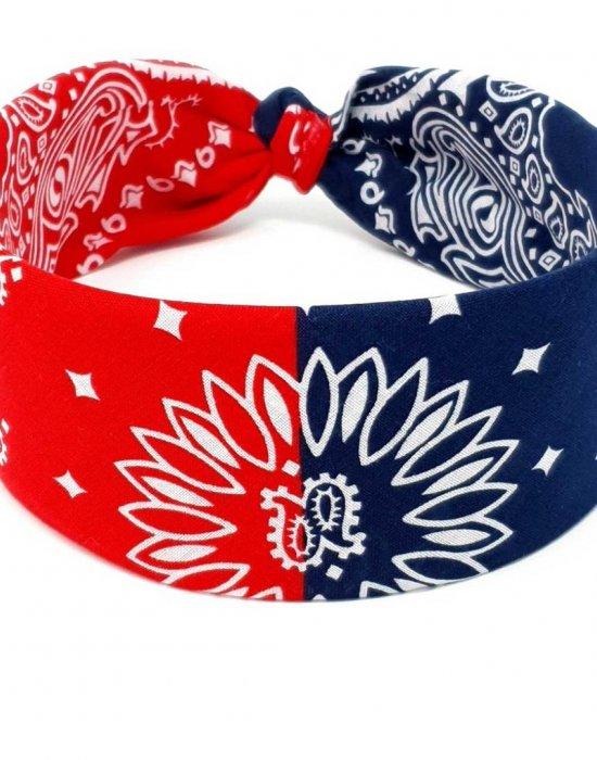 Кърпа за глава бандана Bandana в два цвята - синьо-червено, Бандани кърпи - Bandana.bg