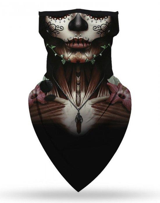 Бандана маска с уши в интересен дизайн Тайнствената жена, Бандани маски с уши - Bandana.bg