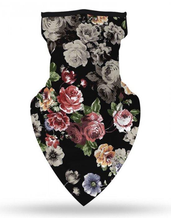 Бандана маска с уши на цветя Bestseller Design Flowers, Бандани маски с уши - Bandana.bg
