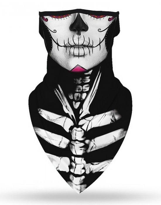 Бандана маска с уши в интересен дизайн в черен цвят, Бандани маски с уши - Bandana.bg